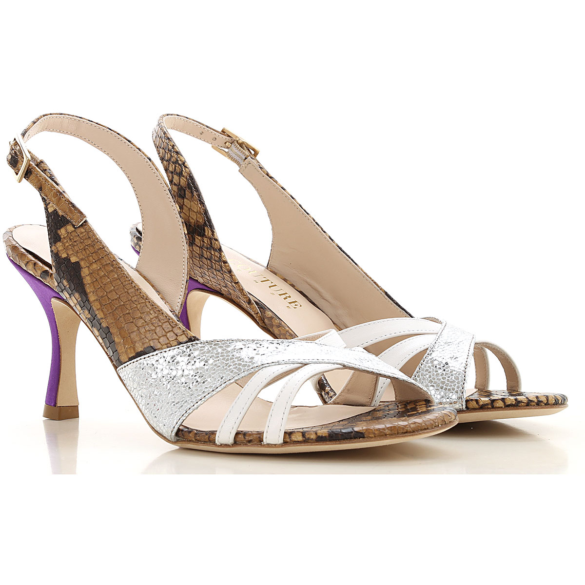 Gia Couture Sandals for Women On Sale in Outlet, Python Beige/Brown, Leather, 2019, 10 6 7 8 9