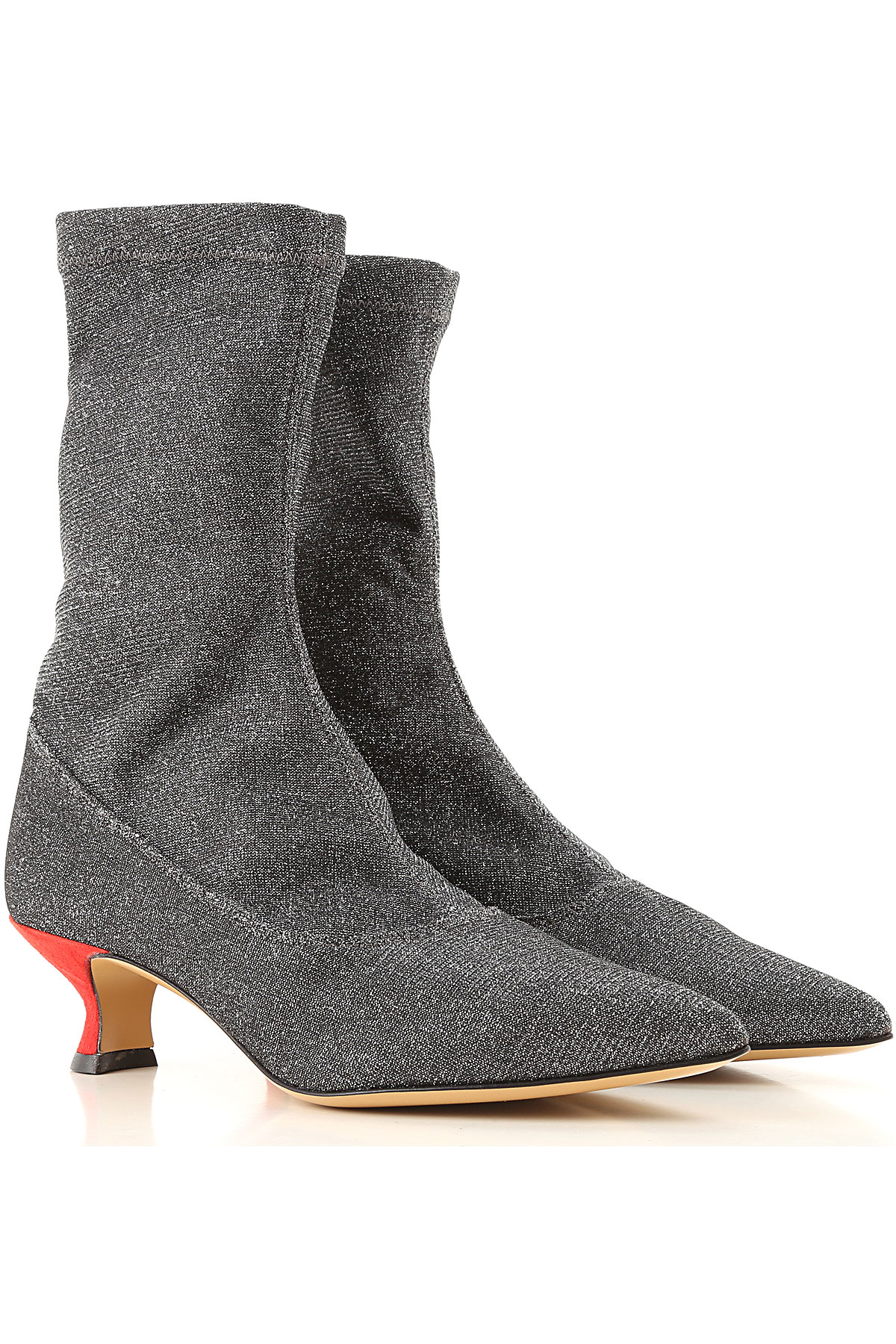 Gia Couture Boots for Women, Booties On Sale, Silver, Leather, 2019, 10 8 9