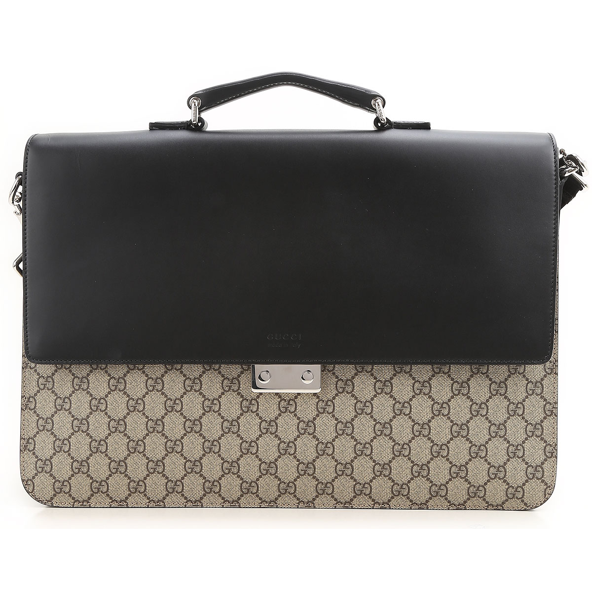 Image of Gucci Briefcase for Men On Sale, Gg Supreme, Black, Leather, 2017