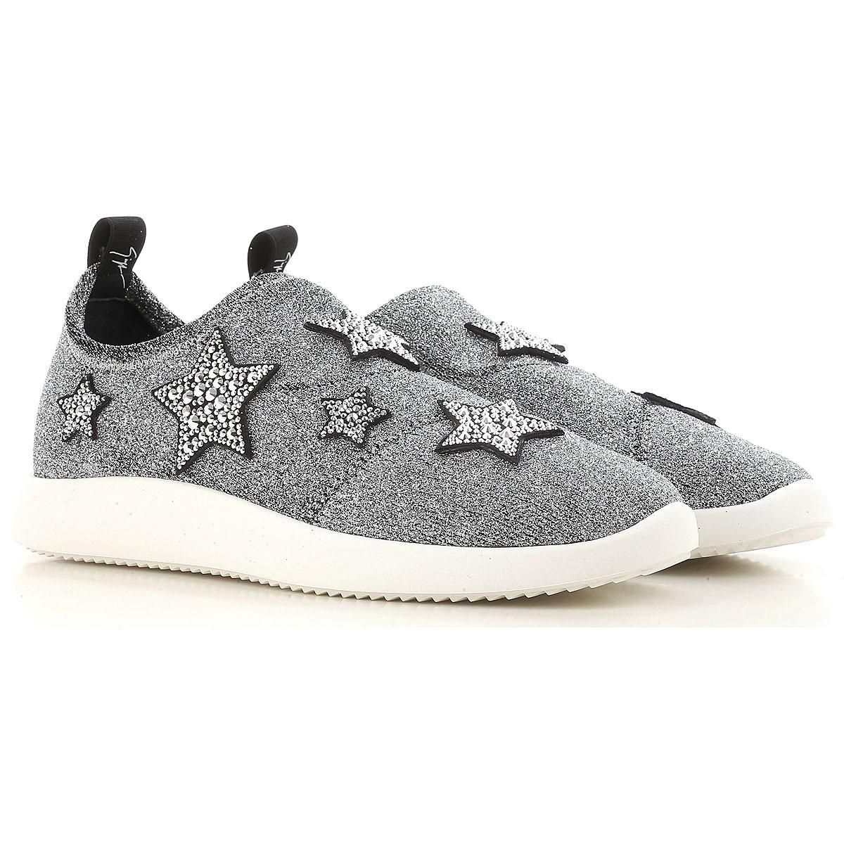 Giuseppe Zanotti Design Sneakers for Women On Sale in Outlet, Silver, Glitter, 2019, 10 7 9