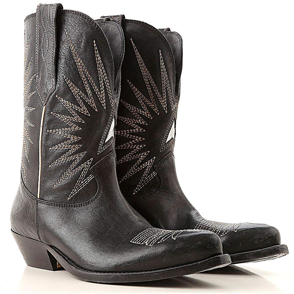 Golden Goose Boots for Women, Booties On Sale, Black, Leather, 2019, 6 7 8