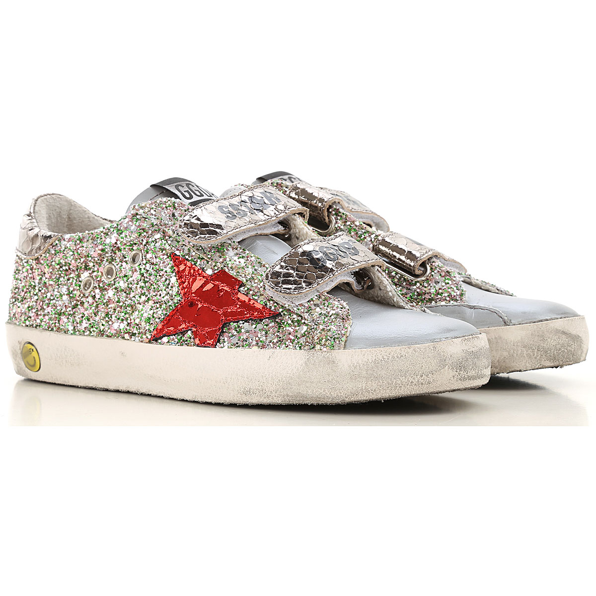 Golden Goose Kids Shoes for Girls On Sale, Silver, Leather, 2019, 24 25 26 27 29 30 31 32 33