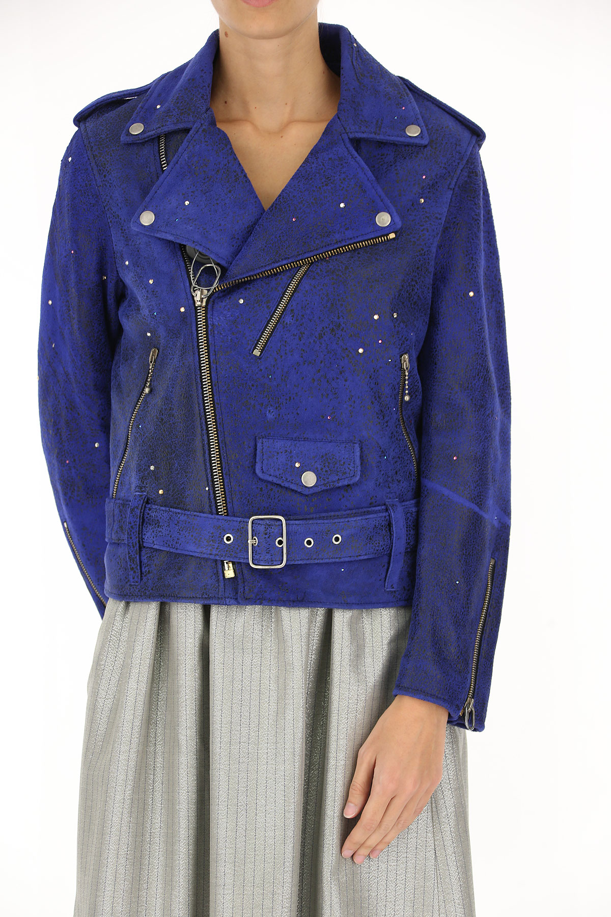 Image of Golden Goose Leather Jacket for Women, Night Blue, Leather, 2017, 10 2 4 6 8