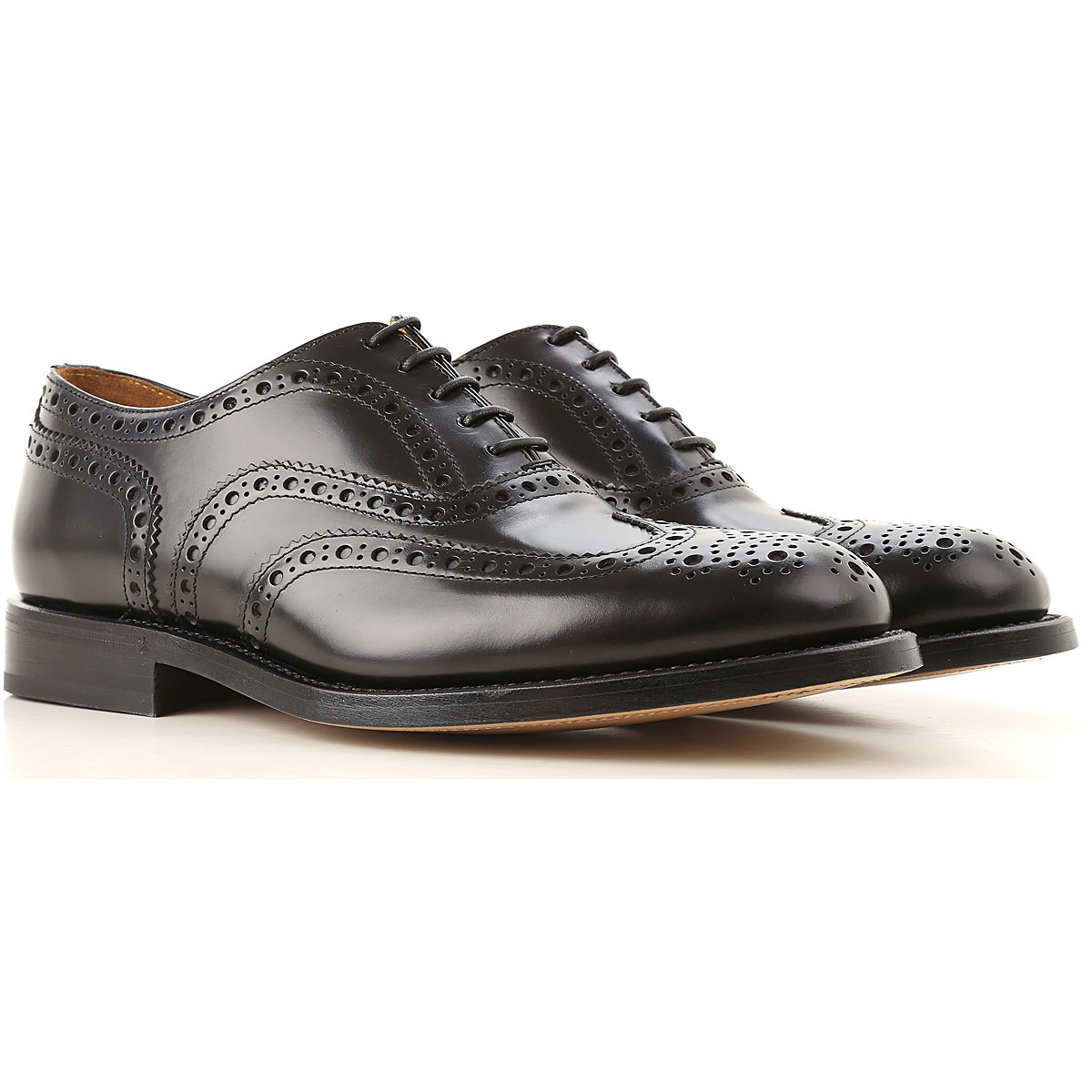 Green George Brogue Shoes, Black, Leather, 2019, 10 11 7 8 9