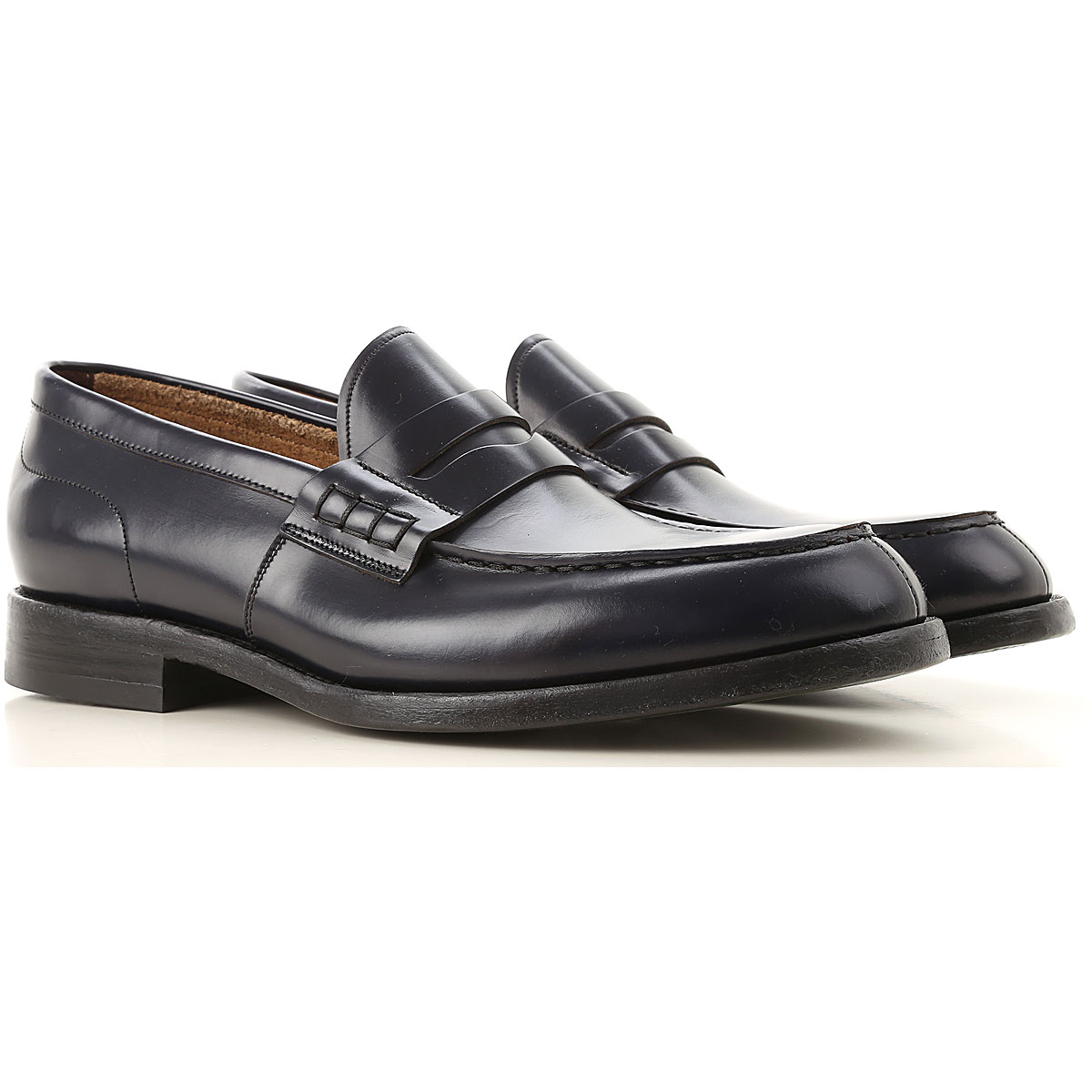 Green George Loafers for Men On Sale in Outlet, Blue Ink, Leather, 2019, 10 8