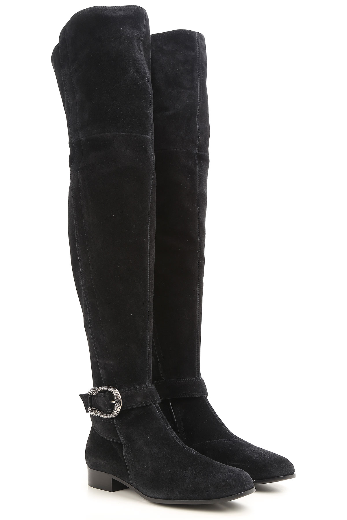 Gucci Boots for Women, Booties On Sale in Outlet, Black, Suede leather, 2019, 10 6