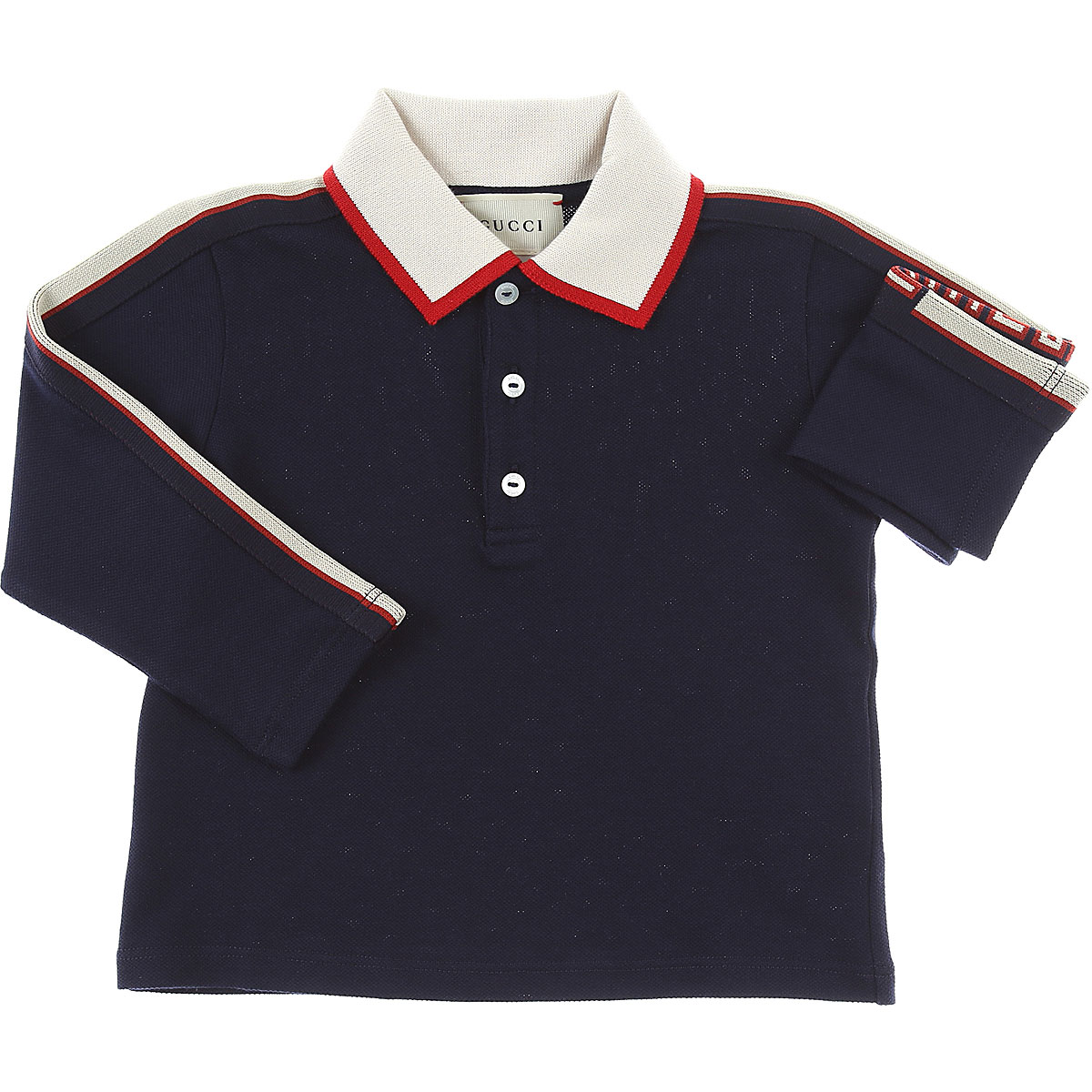 Image of Gucci Baby Polo Shirt for Boys, Blue, Cotton, 2017, 12M 18M 2Y 3Y 6M 9M