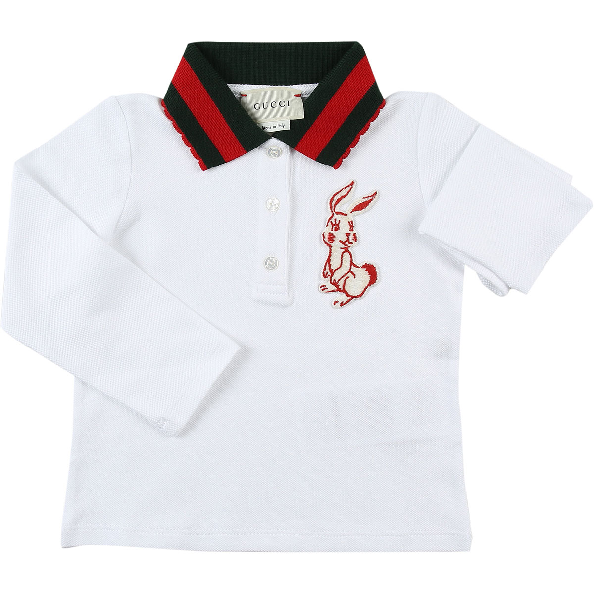 Image of Gucci Baby Polo Shirt for Girls, White, Cotton, 2017, 12M 18M 3Y 6M 9M