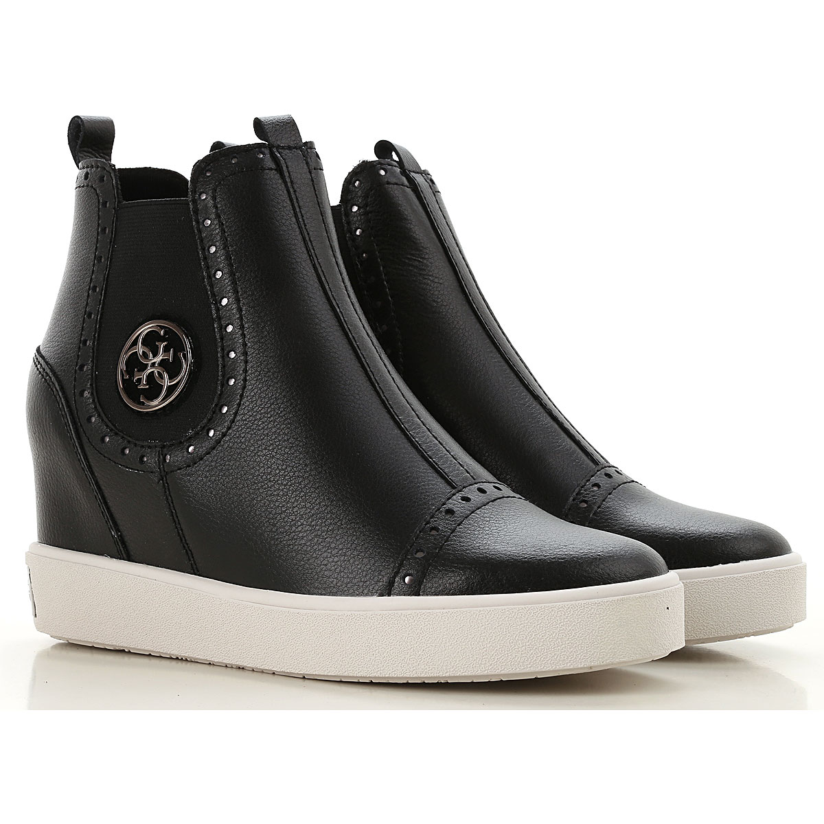 Image of Guess Boots for Women, Booties, Black, Leather, 2017, 10 5 6 7 8