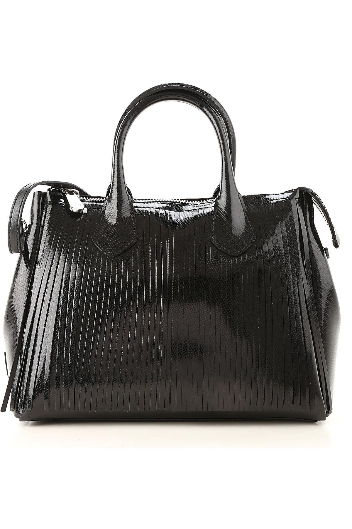 Image of GUM Gianni Chiarini Design Top Handle Handbag, Black, Patent Leather, 2017