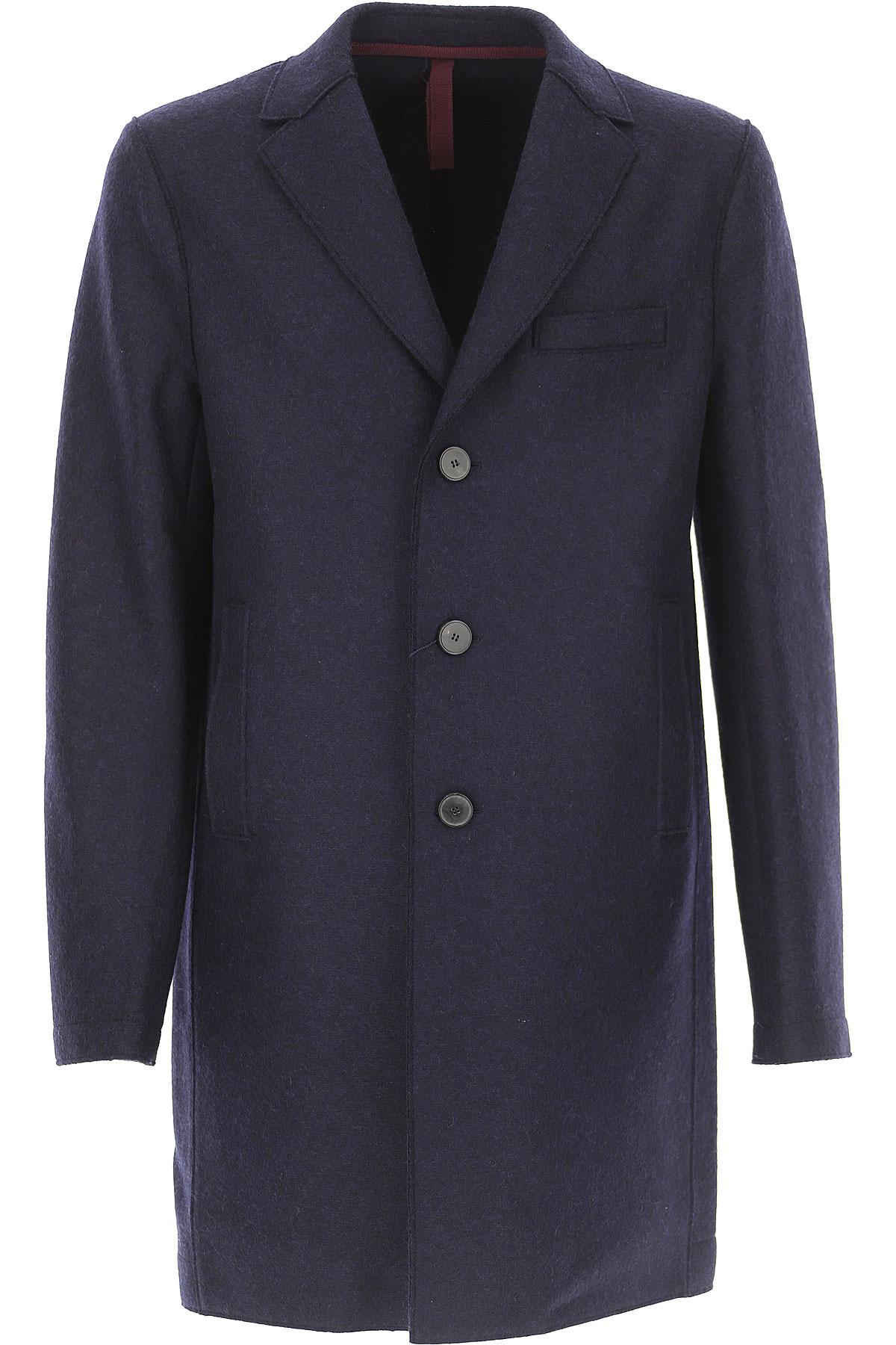 Image of Harris Wharf London Men\'s Coat, Blue Navy, Virgin wool, 2017, L M S XL XXL