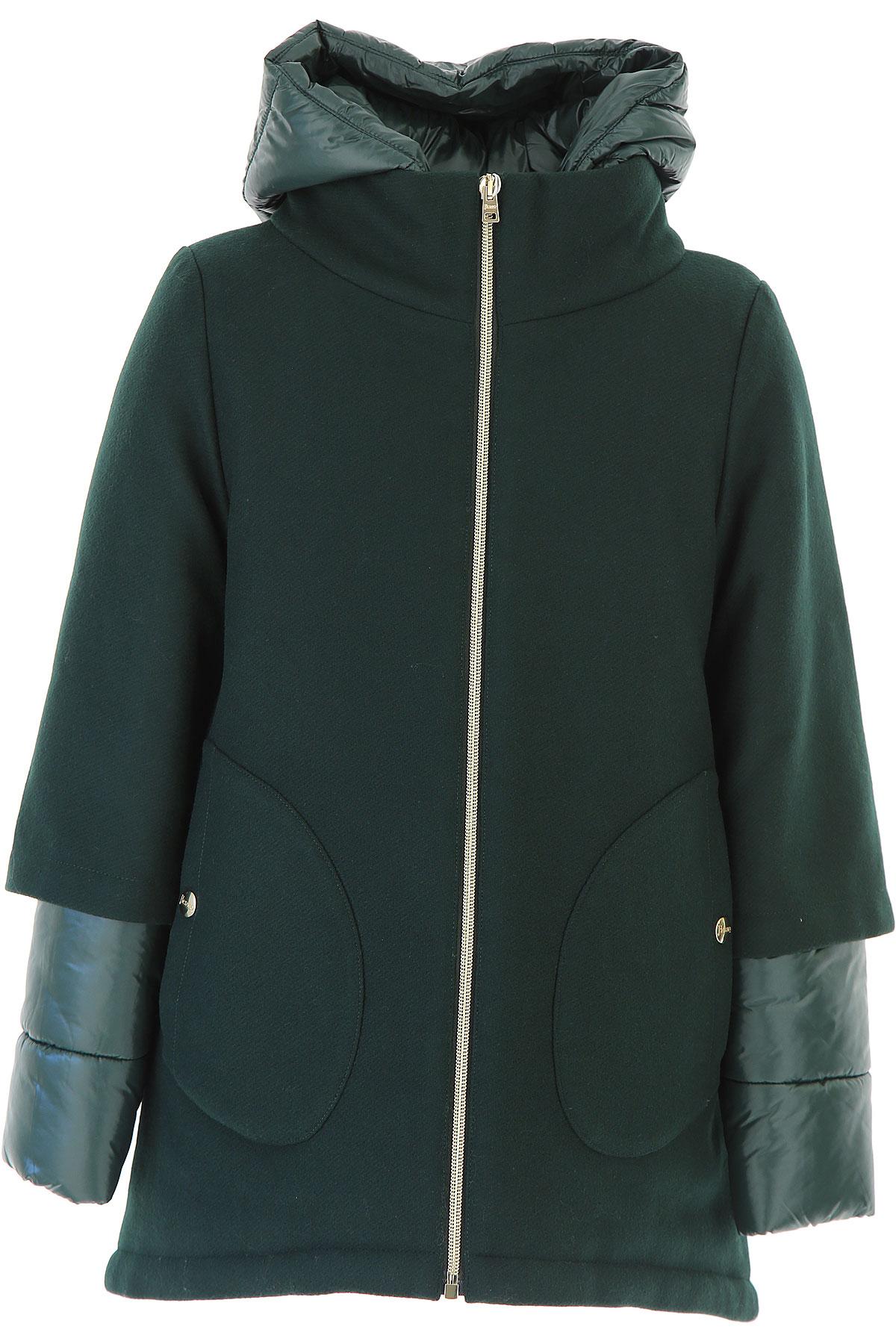 Image of Herno {DESIGNER} Kids Coat for Girls, Green, Wool, 2017, 10Y 14Y 8Y