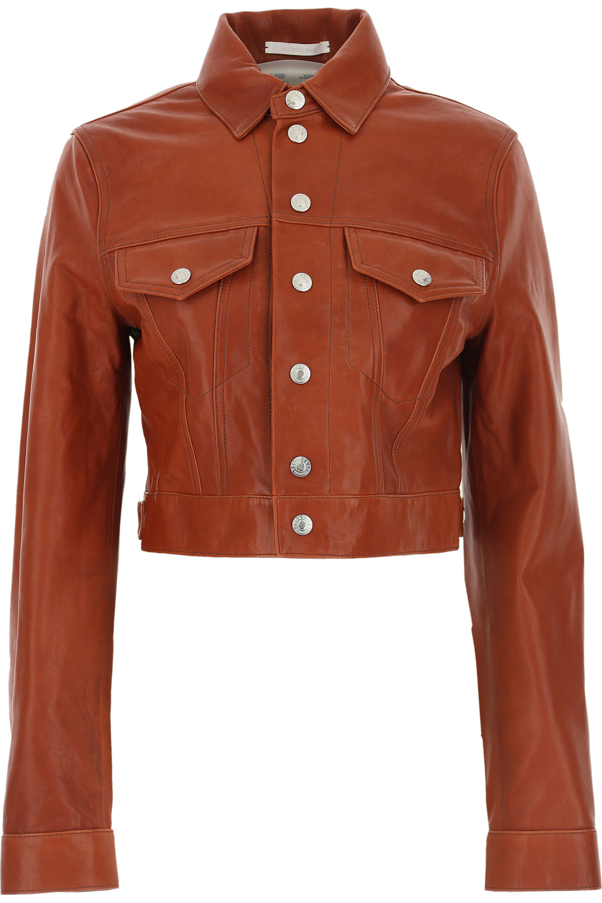 Helmut Lang Leather Jacket for Women On Sale, Red Tobacco, Leather, 2019, 4 6
