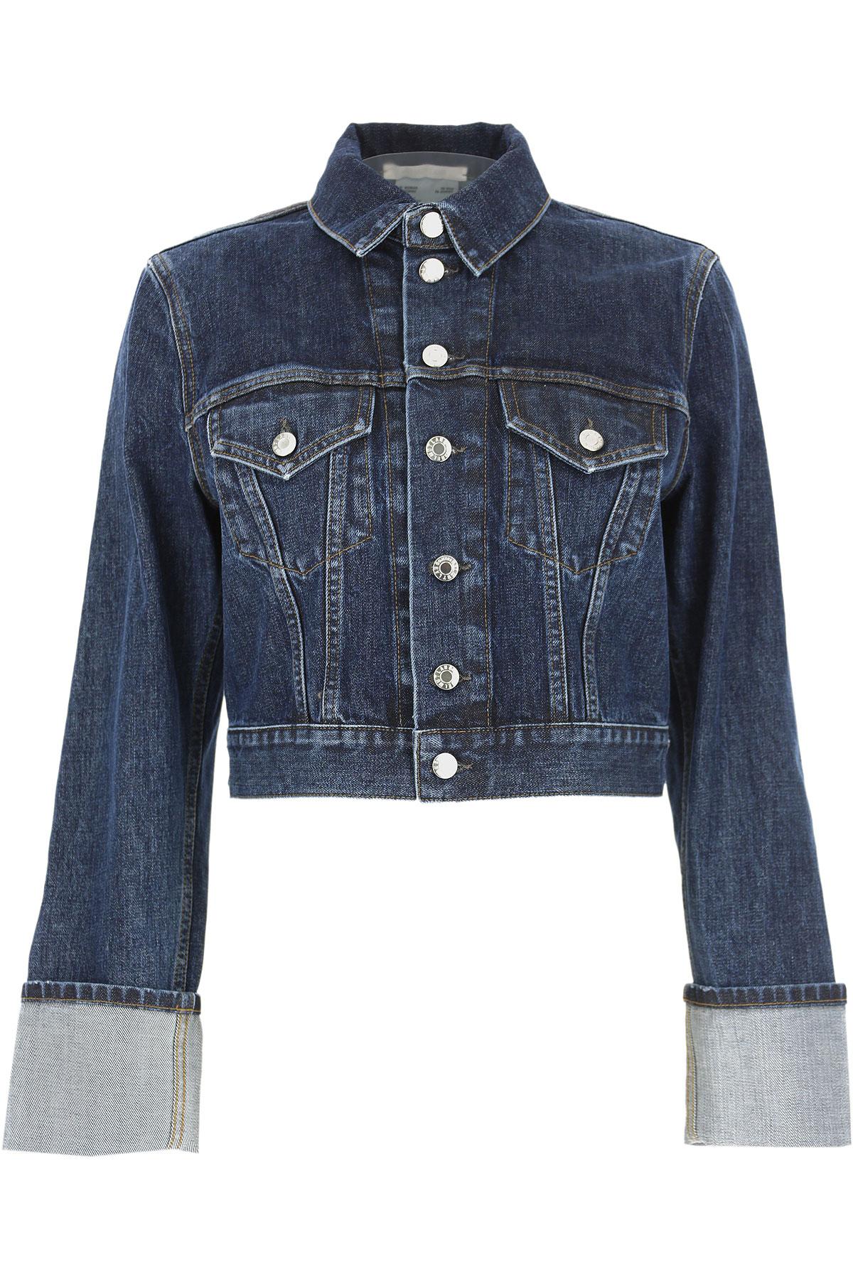 Helmut Lang Jacket for Women On Sale, Dark Blue Denim, Cotton, 2019, 6 8