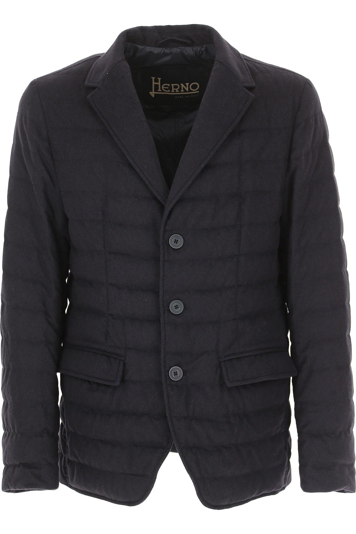 Herno Down Jacket for Men, Puffer Ski Jacket On Sale, Navy Blue, Down, 2019, XL XXL