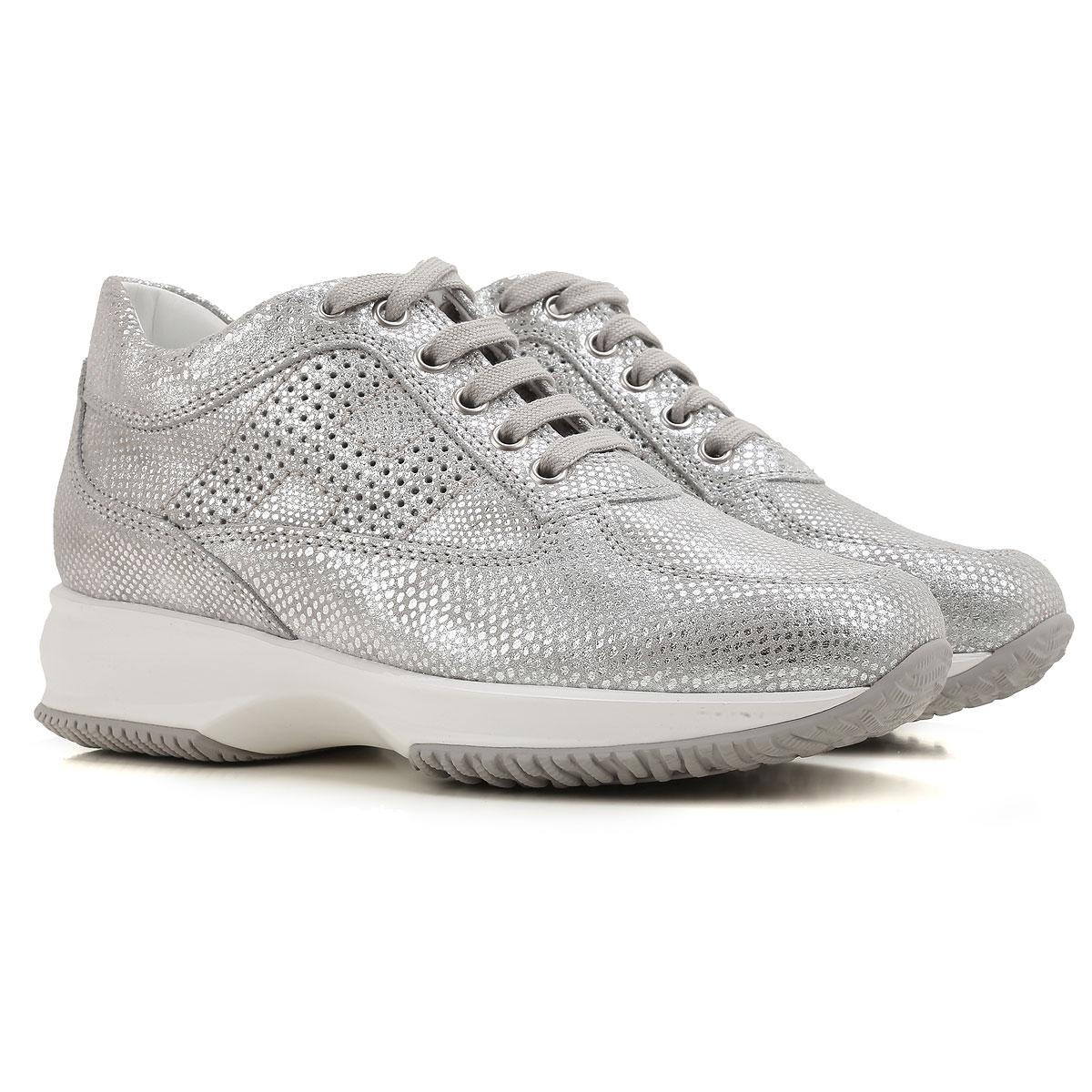 Hogan Sneaker Femme Pas cher en Soldes, Argent, Cuir, 2017, 35 36 36.5 37 37.5 38 38.5 39