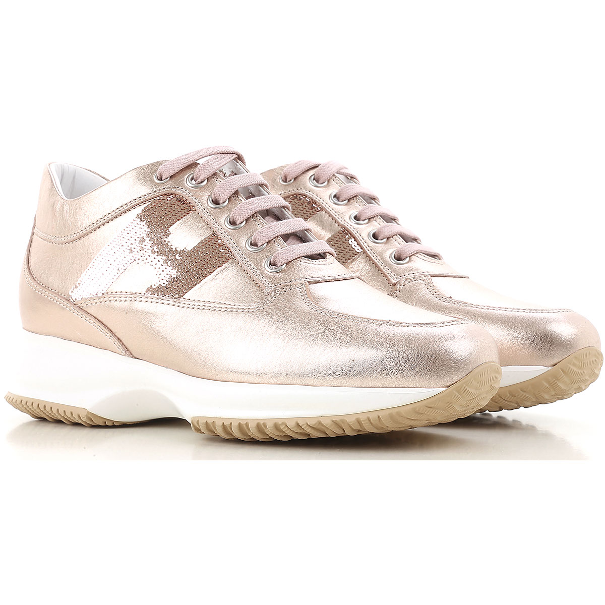 Hogan Sneakers for Women, Metal Pink, Leather, 2017, 10 6 6.5 7 8 8.5 9 9.5