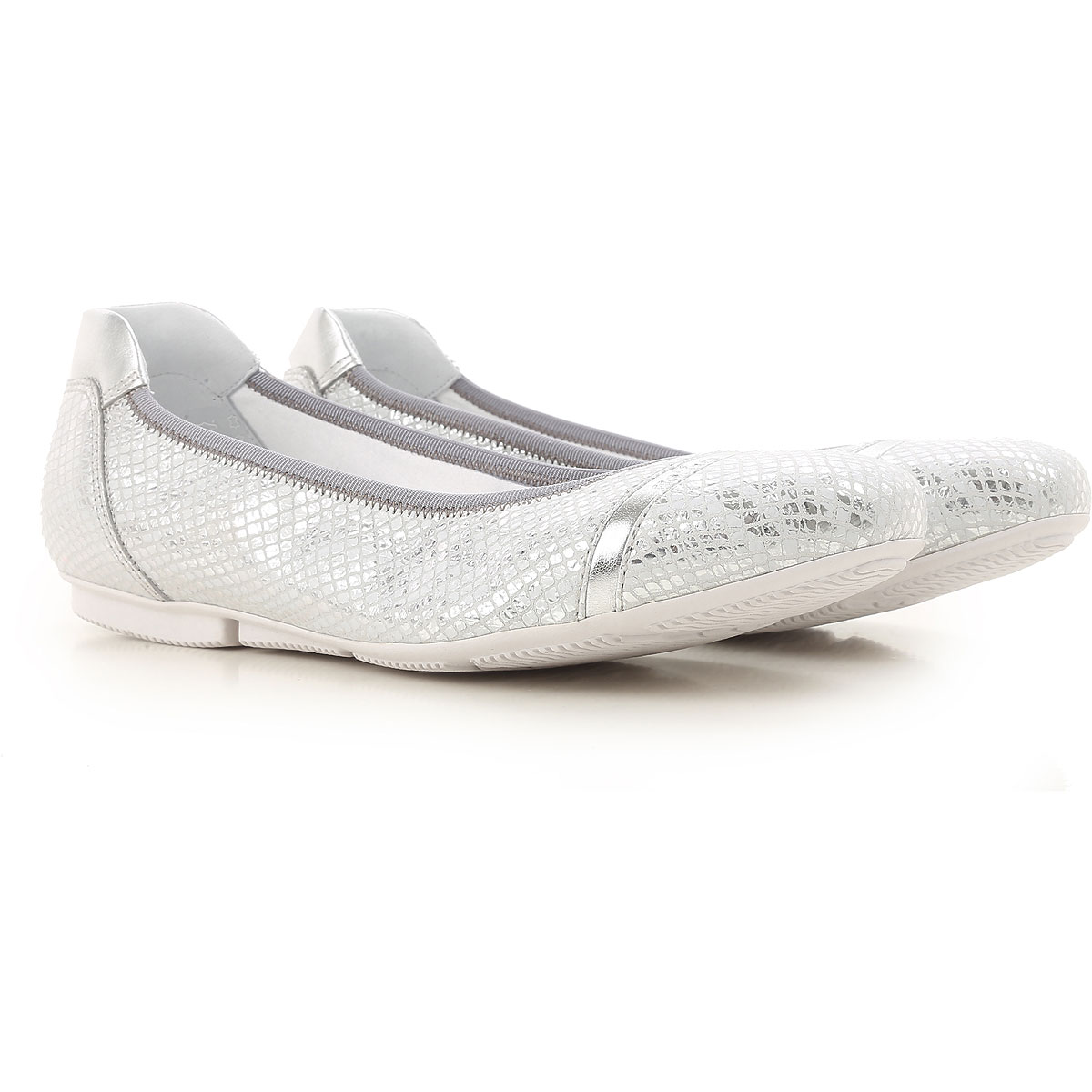 Image of Hogan Ballet Flats Ballerina Shoes for Women On Sale, Silver, Leather, 2017, 5 6
