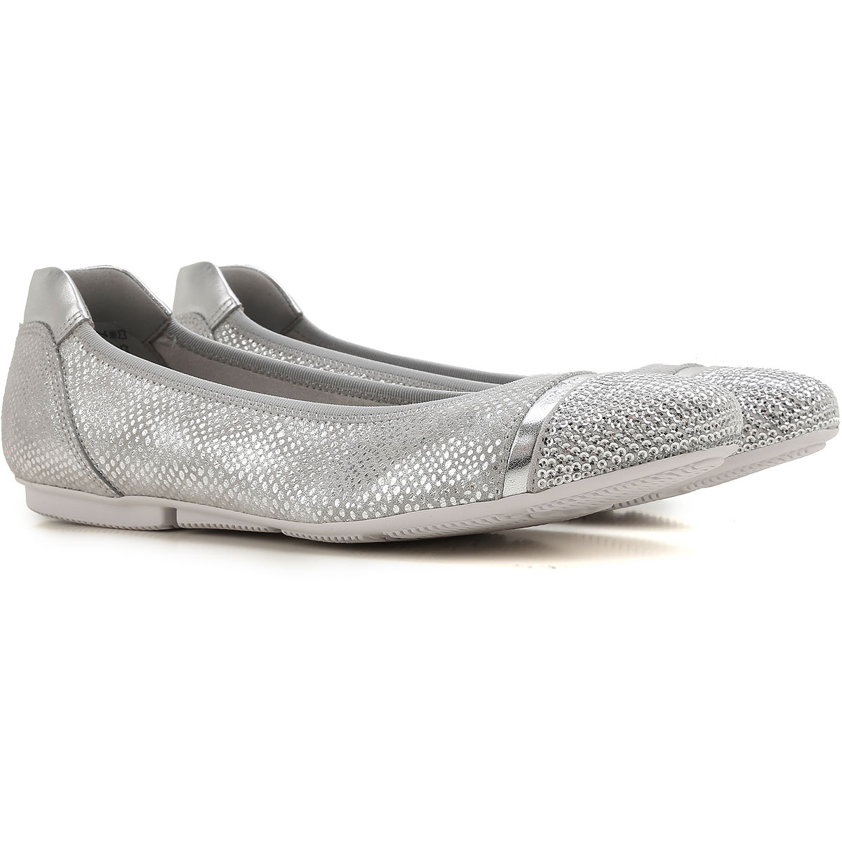 Image of Hogan Ballet Flats Ballerina Shoes for Women On Sale, Silver, Leather, 2017, 5 6.5