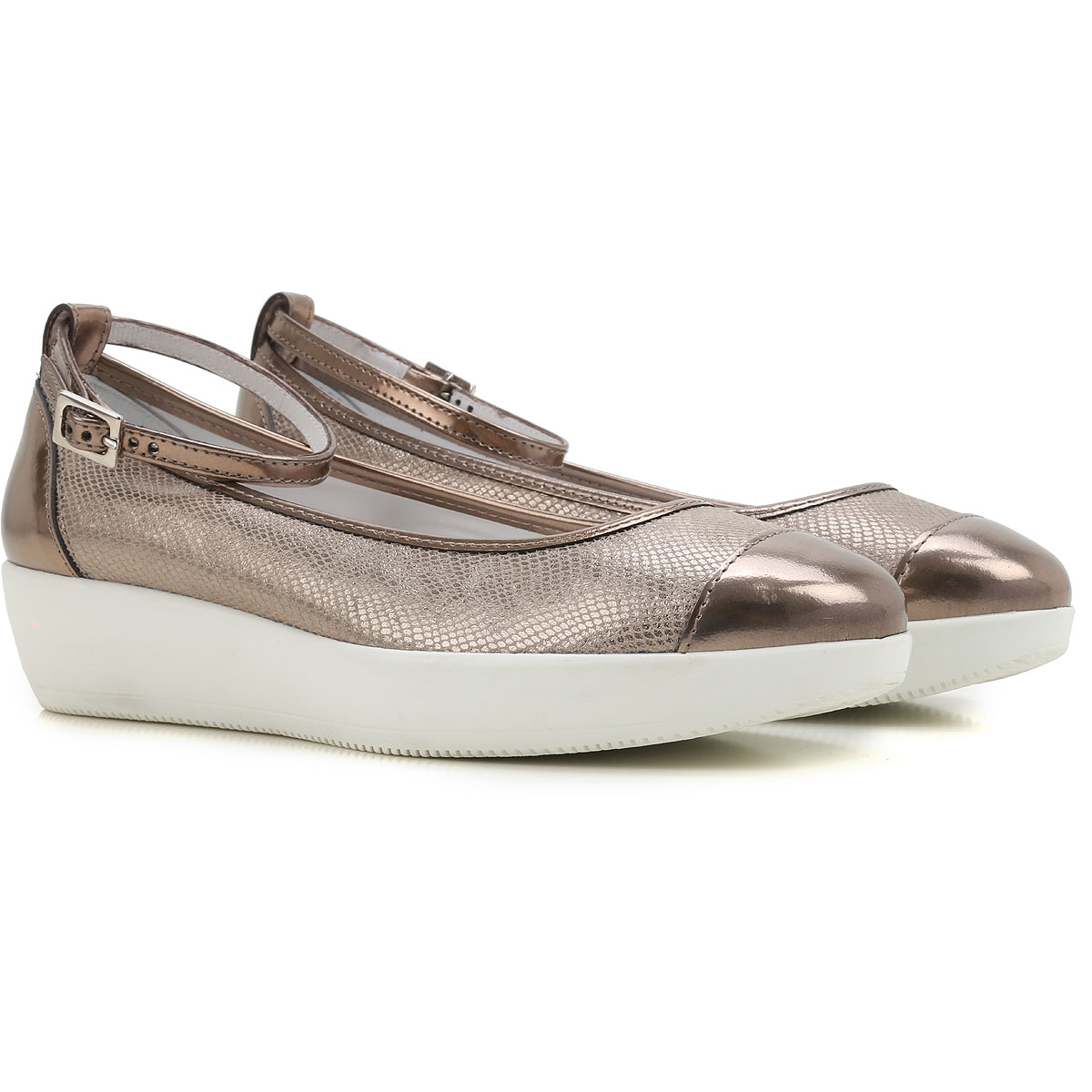 Image of Hogan Ballet Flats Ballerina Shoes for Women On Sale in Outlet, Stone, Leather, 2017, 5.5 6