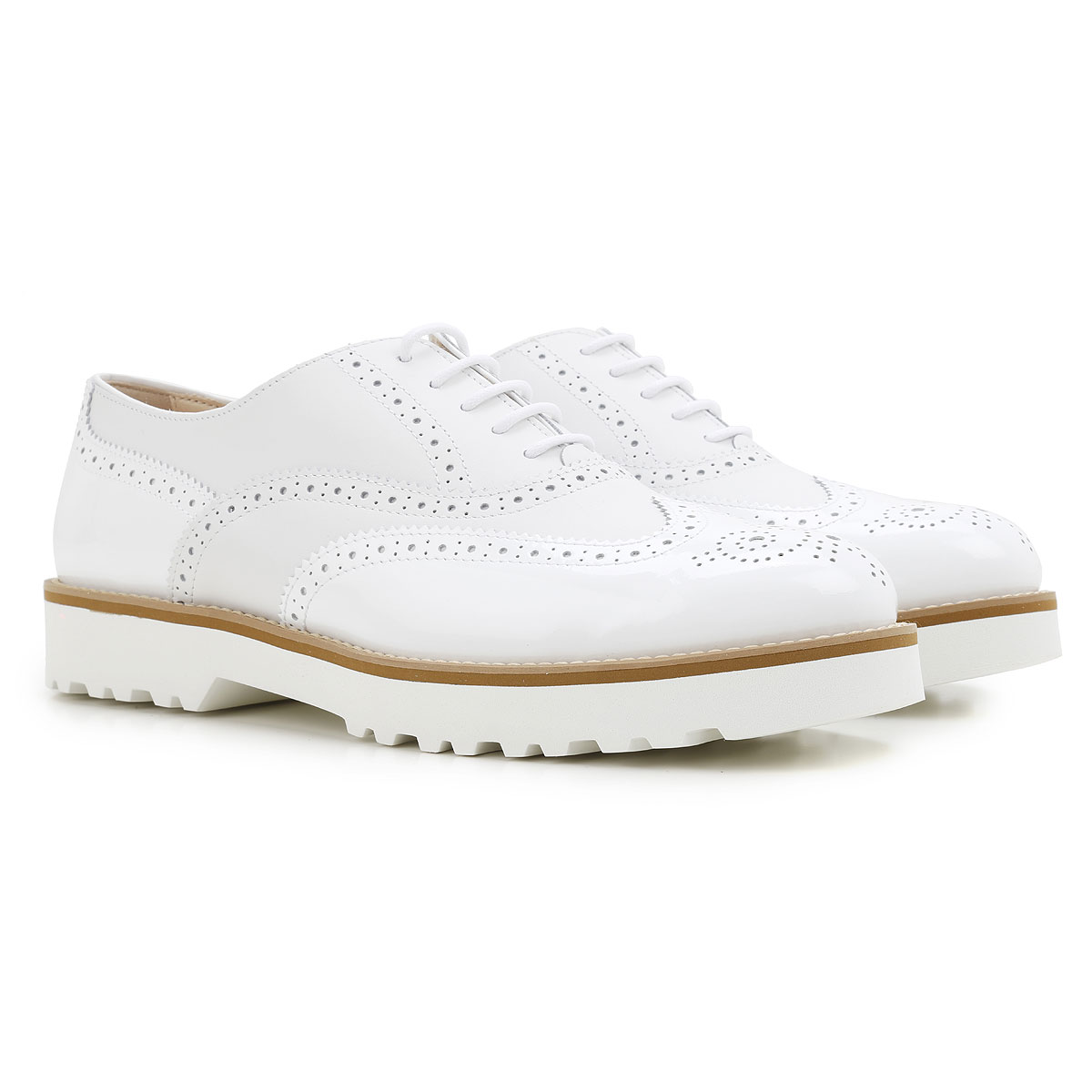 Hogan Brogues Oxford Shoes On Sale in Outlet, White, Leather, 2019, 5 6.5