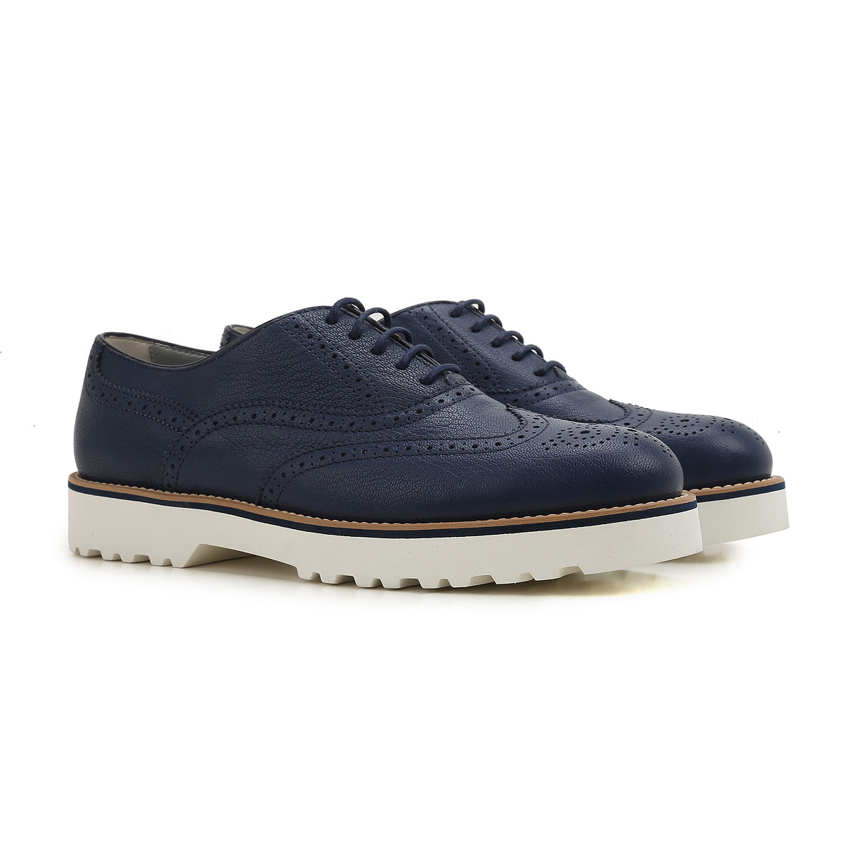 Image of Hogan Brogues Oxford Shoes On Sale in Outlet, Blue, Leather, 2017, 10 7 9