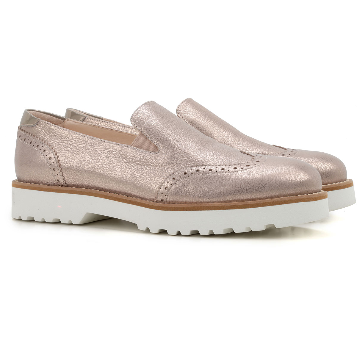 Hogan Brogues Oxford Shoes On Sale in Outlet, Pale Gold, Leather, 2019, 10 9