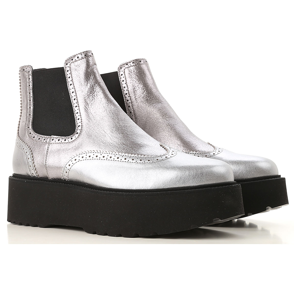 Hogan Chelsea Boots for Women, Silver, Leather, 2019, 10 5 9
