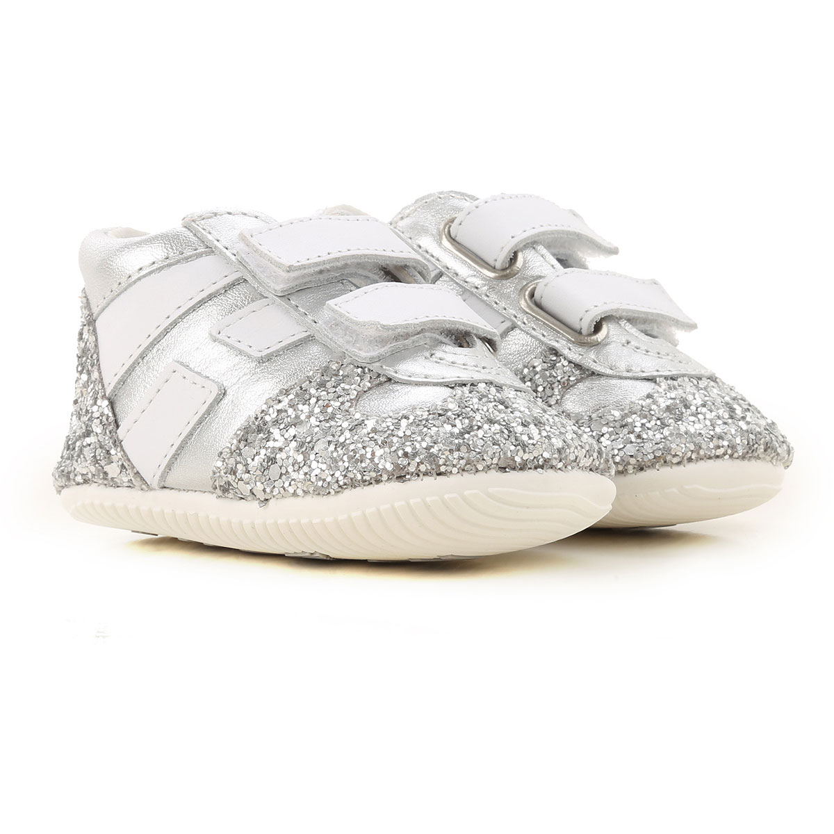 Hogan Baby Shoes for Girls On Sale, Silver, Leather, 2019, 2.5C 3.5C