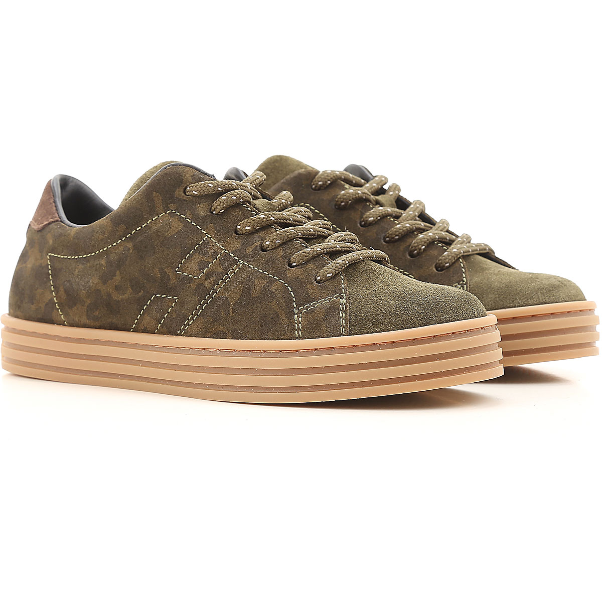Image of Hogan Sneakers On Sale in Outlet, Military Green, Suede leather, 2017, 23 27 28 29 32