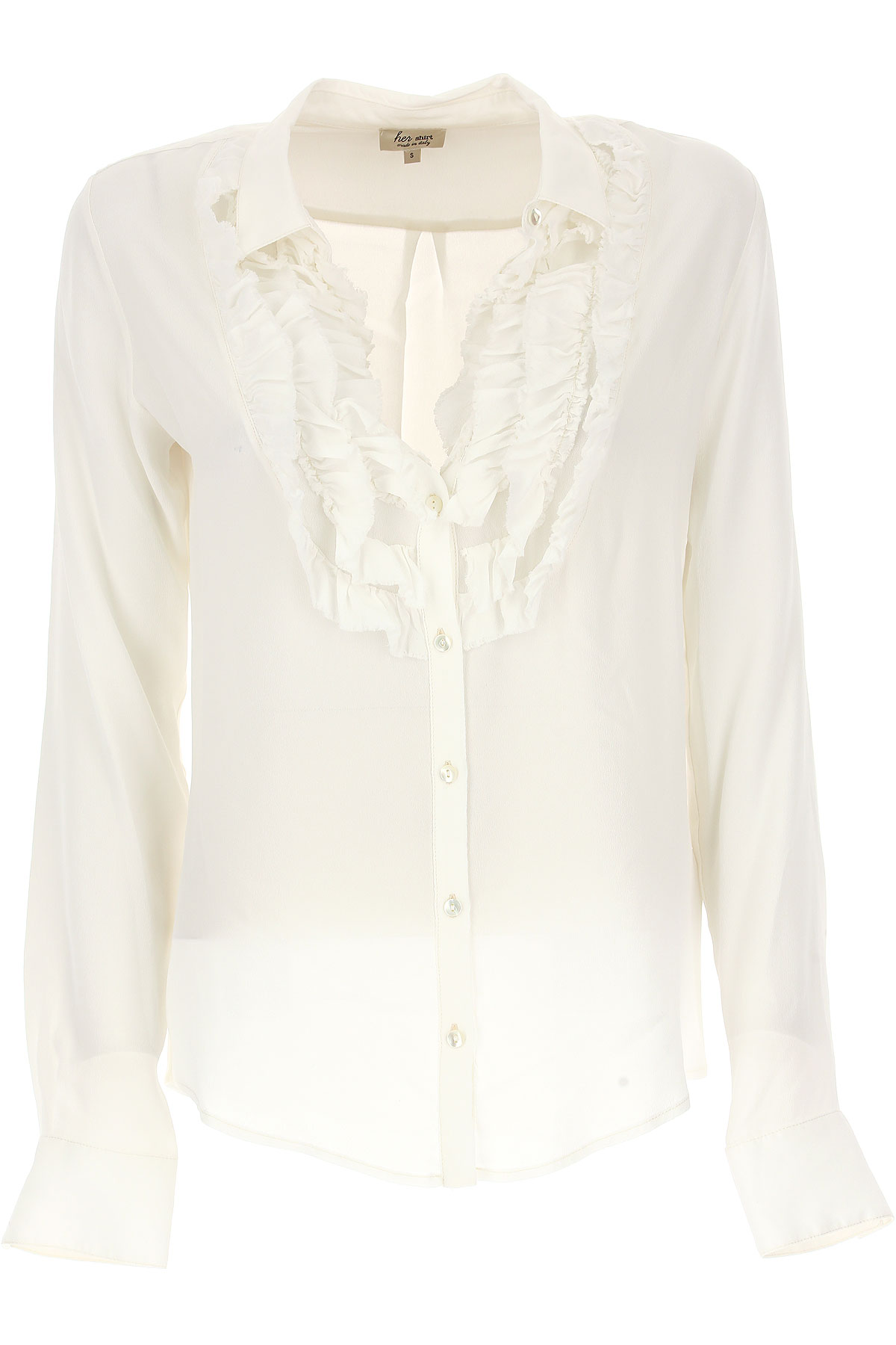 Image of Her Shirt Shirt for Women On Sale, White, Viscose, 2017, 4 6