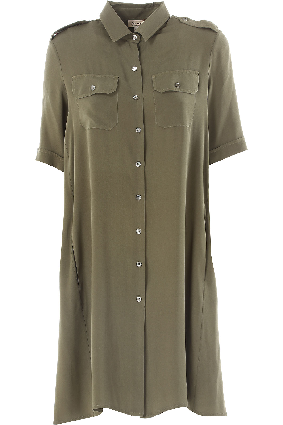 Image of Her Shirt Dress for Women, Evening Cocktail Party On Sale, Military Green, Silk, 2017, 2 4