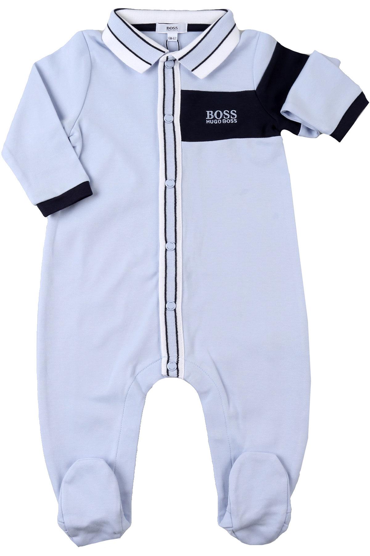 Hugo Boss Baby Bodysuits & Onesies for Boys On Sale, Sky, Cotton, 2019, 3M 6M