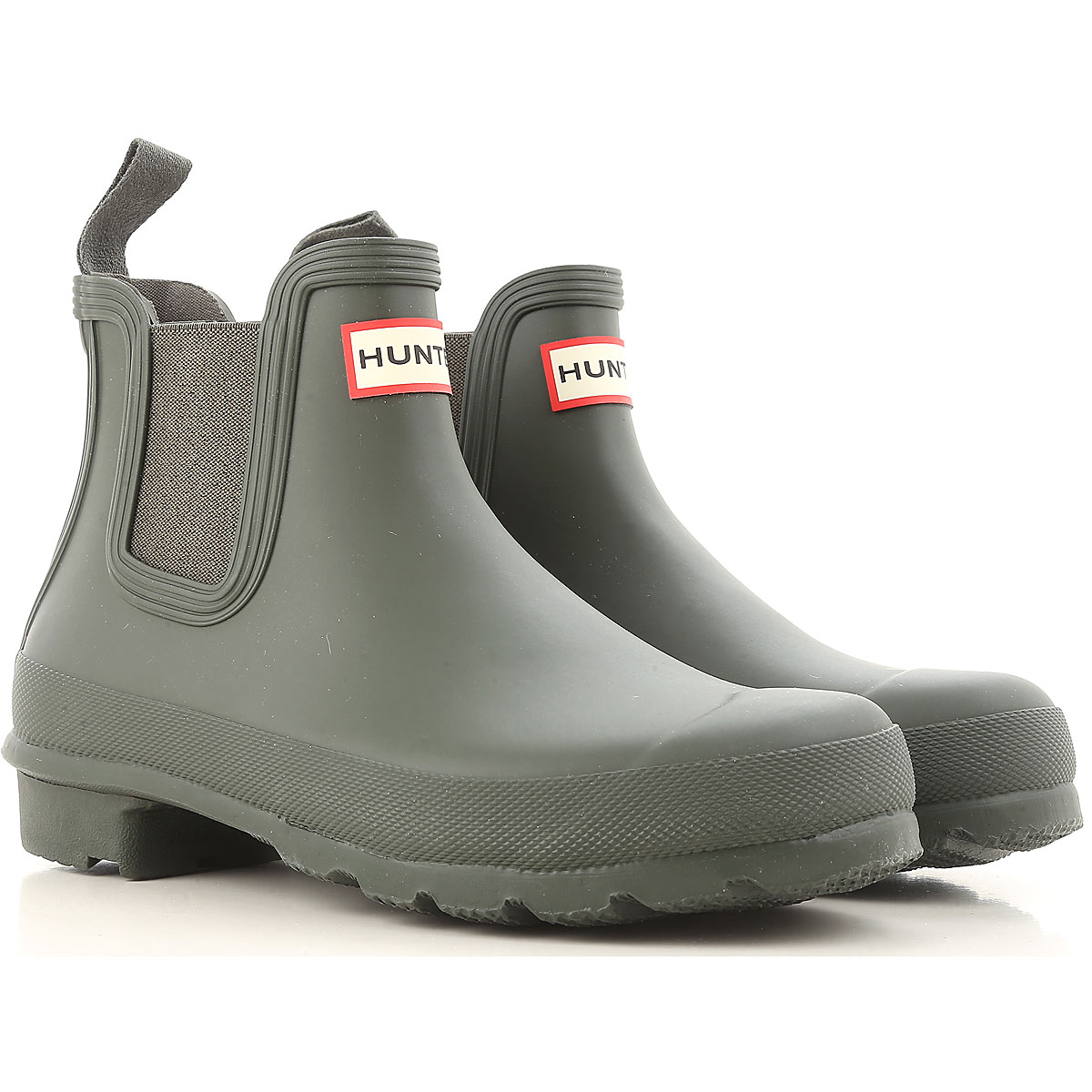 Image of Hunter Boots for Women, Booties, Dark Olive Green, Rubber, 2017, 7 8 9