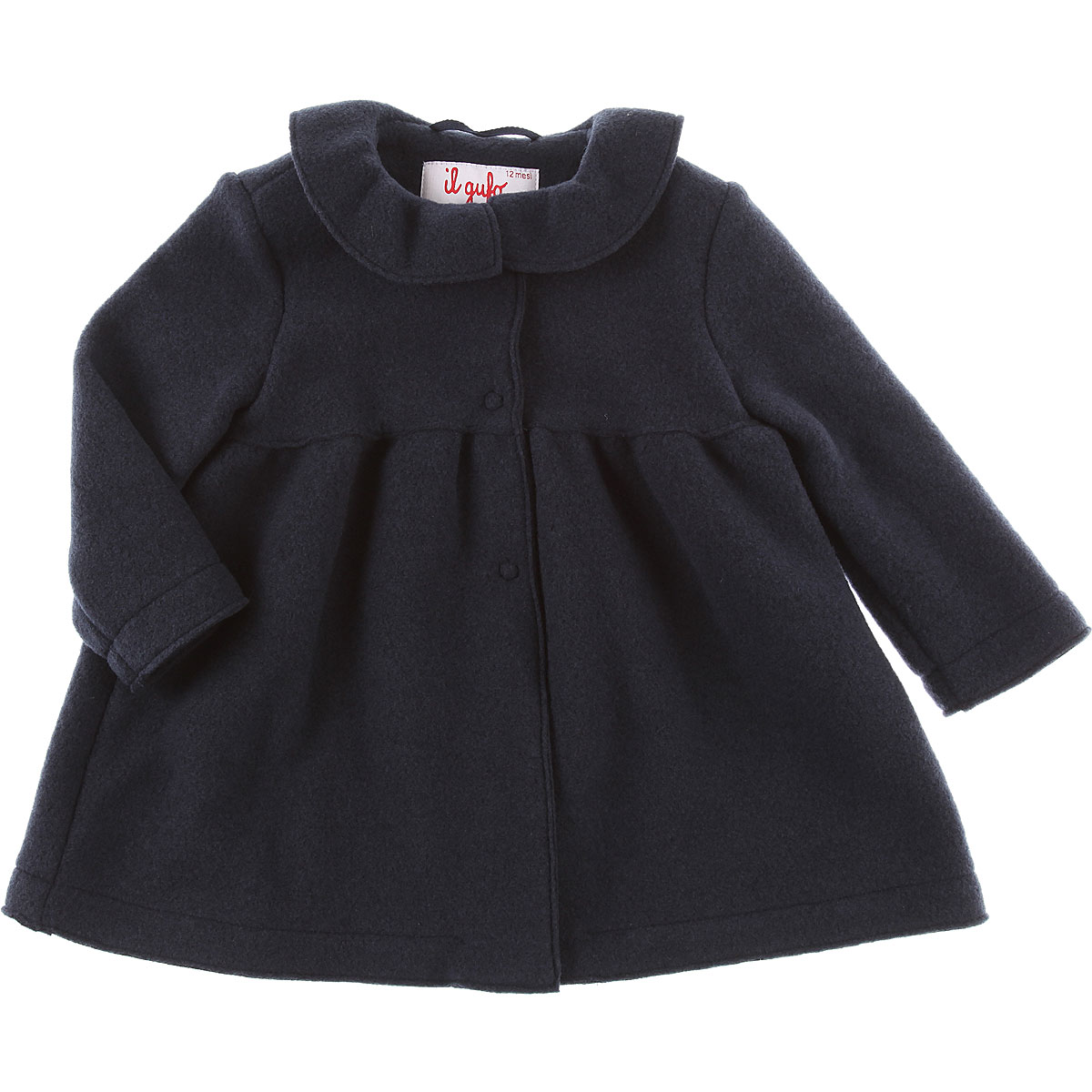 Image of Il Gufo Baby Coats for Girls, navy, polyester, 2017, 12M 18M 2Y 6M 9M