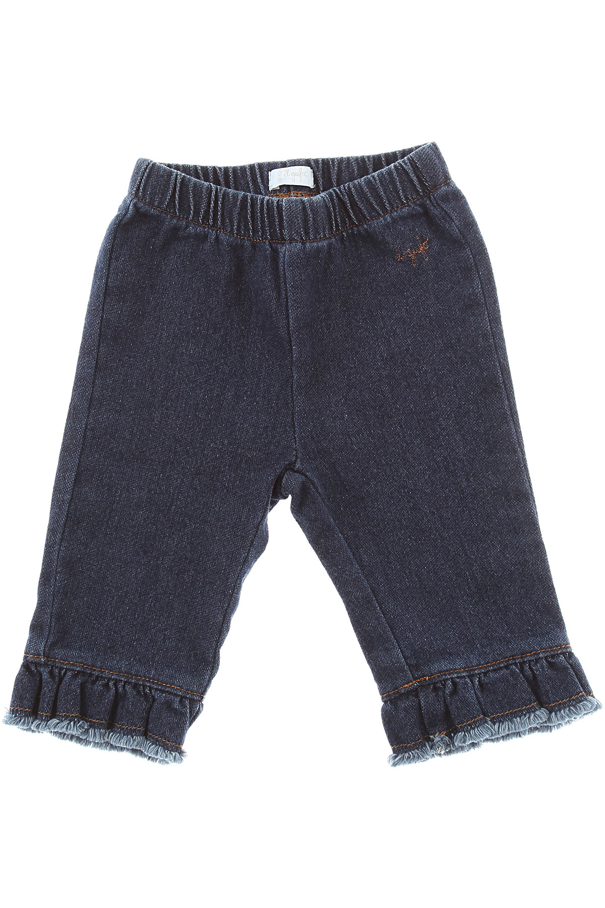 Image of Il Gufo Baby Pants for Girls, Denim, Cotton, 2017, 12M 9M