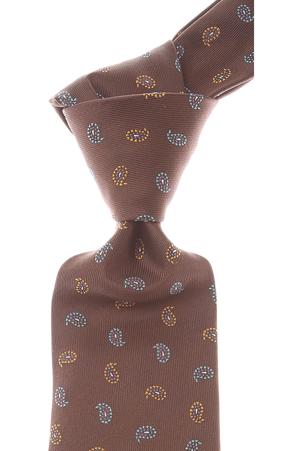 Isaia Cravates Pas cher en Soldes, Brun chocolat, Soie, 2021