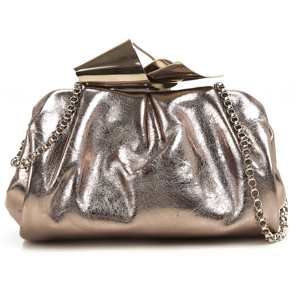 Jimmy Choo Clutch Bag On Sale in Outlet, Cara Clutch, Golden, Metallic Leather, 2019