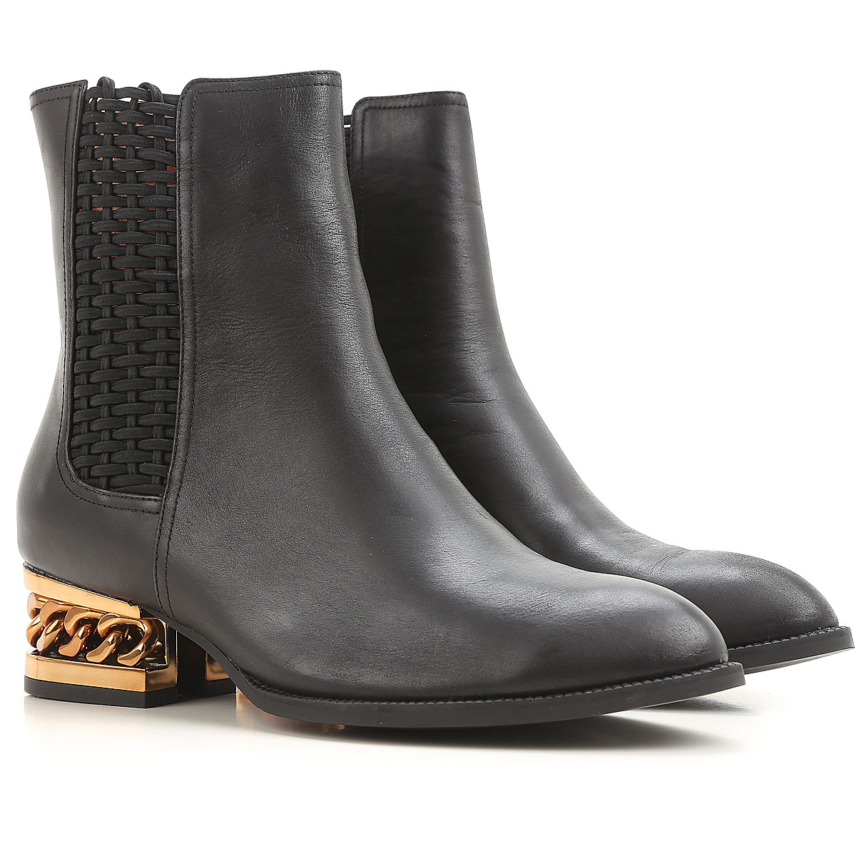 Image of Jeffrey Campbell Boots for Women, Booties On Sale in Outlet, Black, Leather, 2017, 7 8