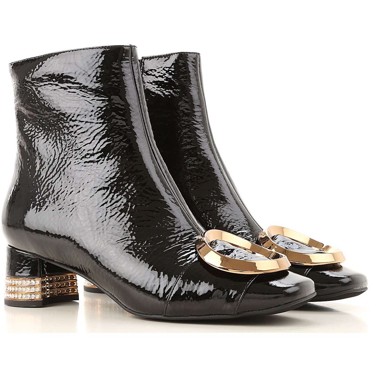 Jeffrey Campbell Boots for Women, Booties On Sale, Black, Patent Leather, 2019, 6 7 8