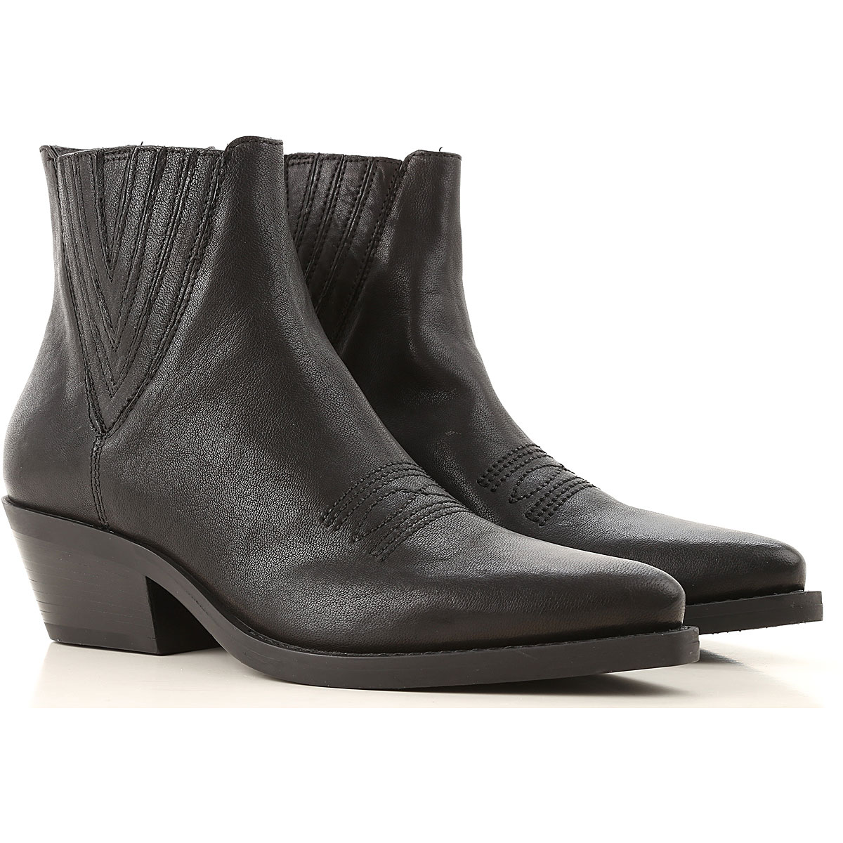 Janet & Janet Boots for Women, Booties On Sale, Black, Leather, 2019, 10 6 7