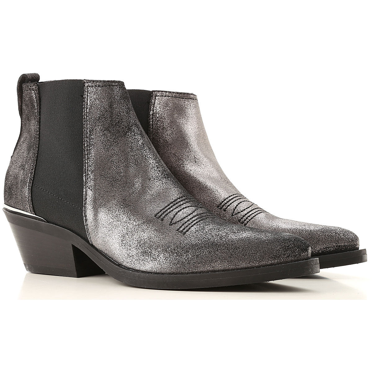 Janet & Janet Chelsea Boots for Women On Sale, Gunmetal, Leather, 2019, 6 7 8 9