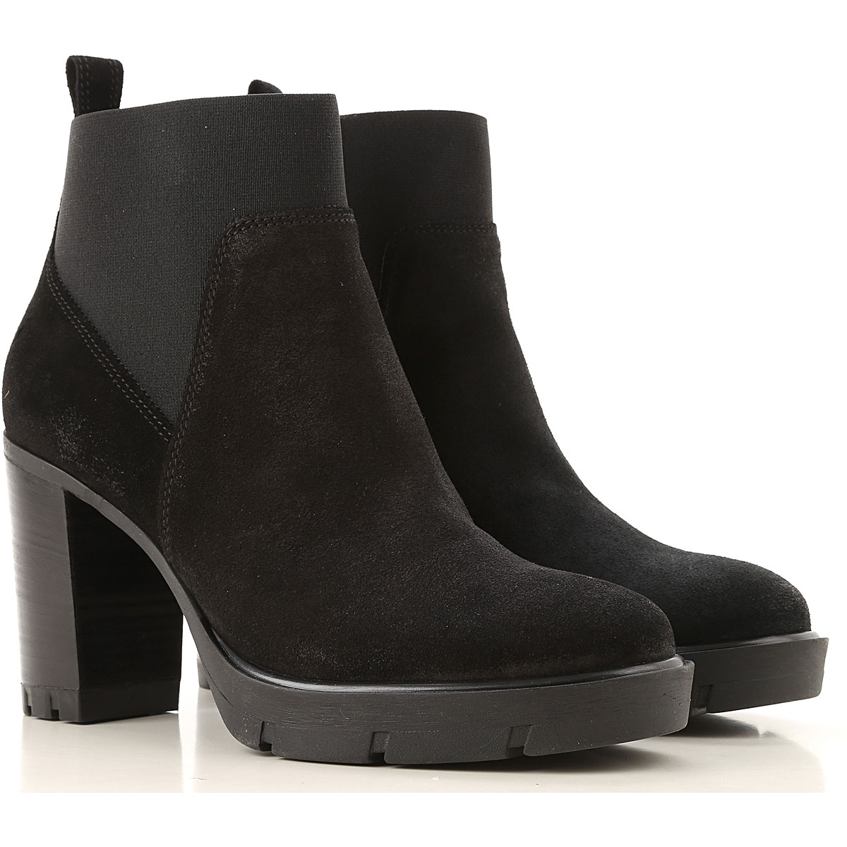 Janet & Janet Boots for Women, Booties On Sale, Black, Suede leather, 2019, 10 7 8
