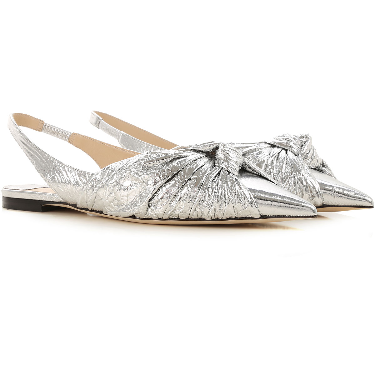 Jimmy Choo Ballet Flats Ballerina Shoes for Women On Sale in Outlet, Silver, Leather, 2019, 5 6