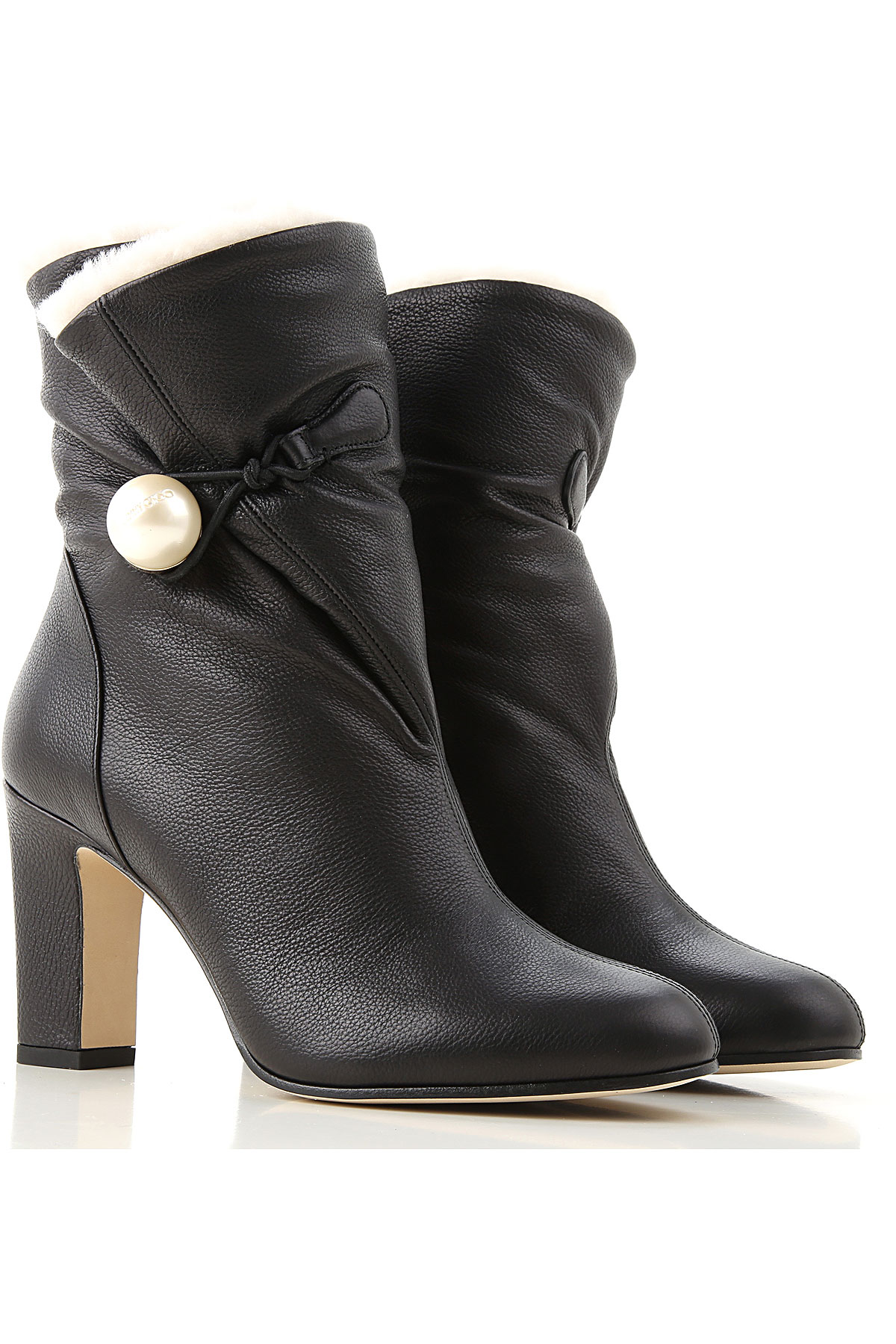 Jimmy Choo Boots for Women, Booties On Sale in Outlet, Black, Leather, 2019, 6.5 8.5