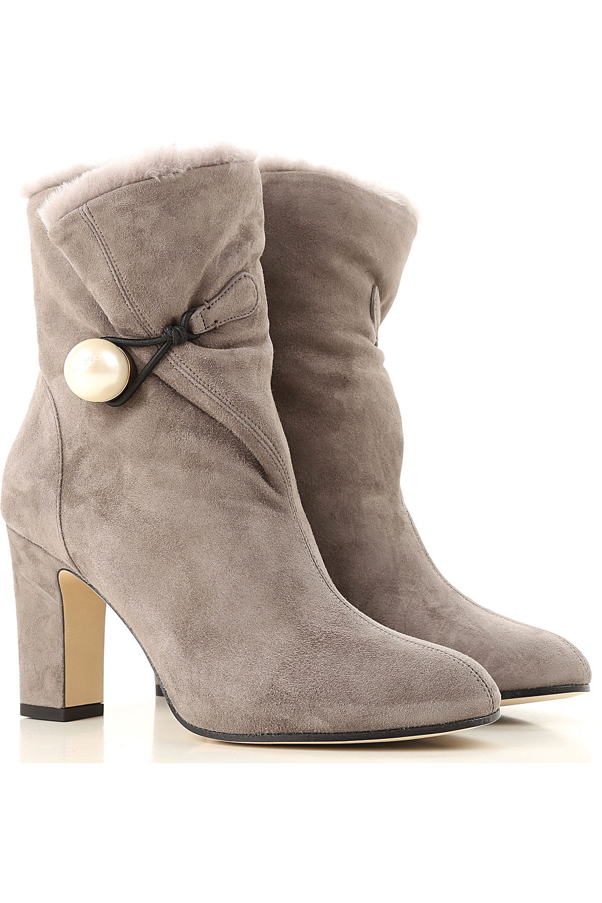 Jimmy Choo Boots for Women, Booties On Sale in Outlet, Mouse Grey, suede, 2019, 10 7