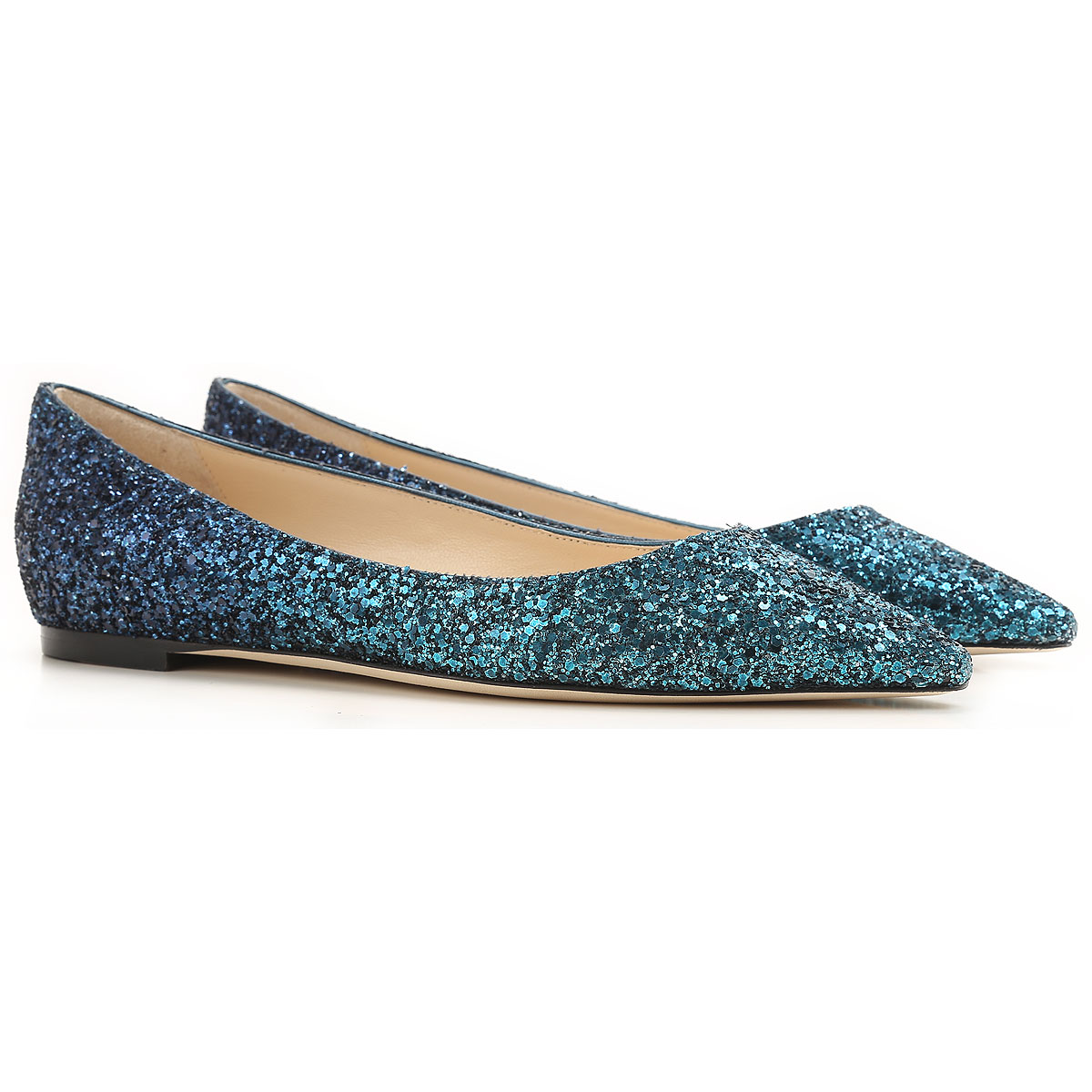 Image of Jimmy Choo Ballet Flats Ballerina Shoes for Women On Sale, navy, Glittered Leather, 2017, 10 6.5 7