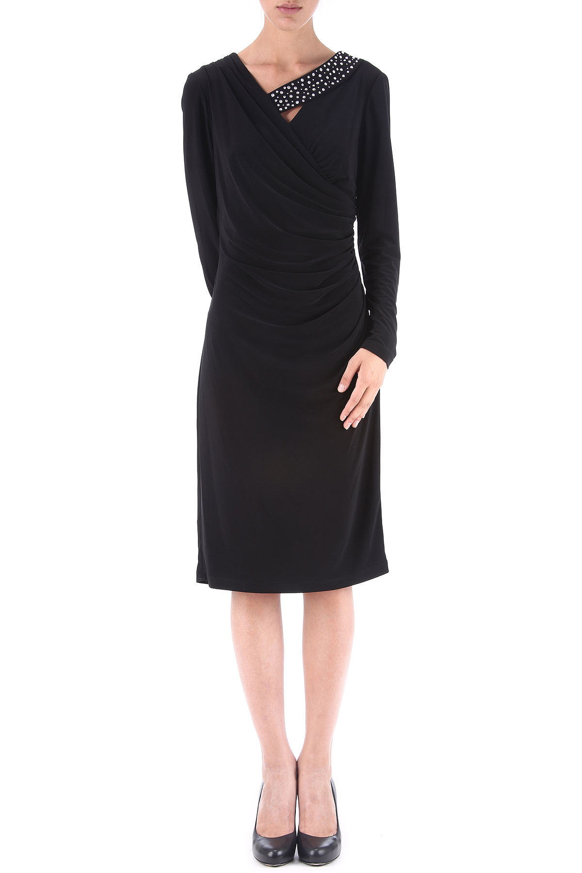 Joseph Ribkoff Dress for Women, Evening Cocktail Party On Sale in Outlet, Black, polyester, 2017, USA 16 - IT 50 USA-365997