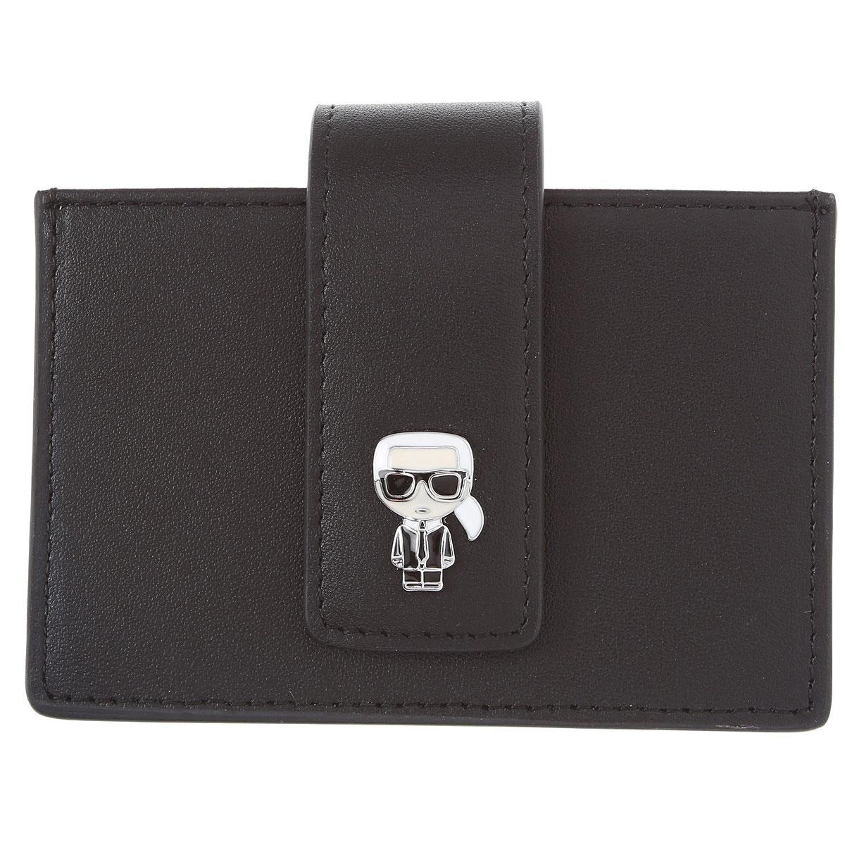 Karl Lagerfeld Card Holder for Men On Sale, Black, Leather, 2019