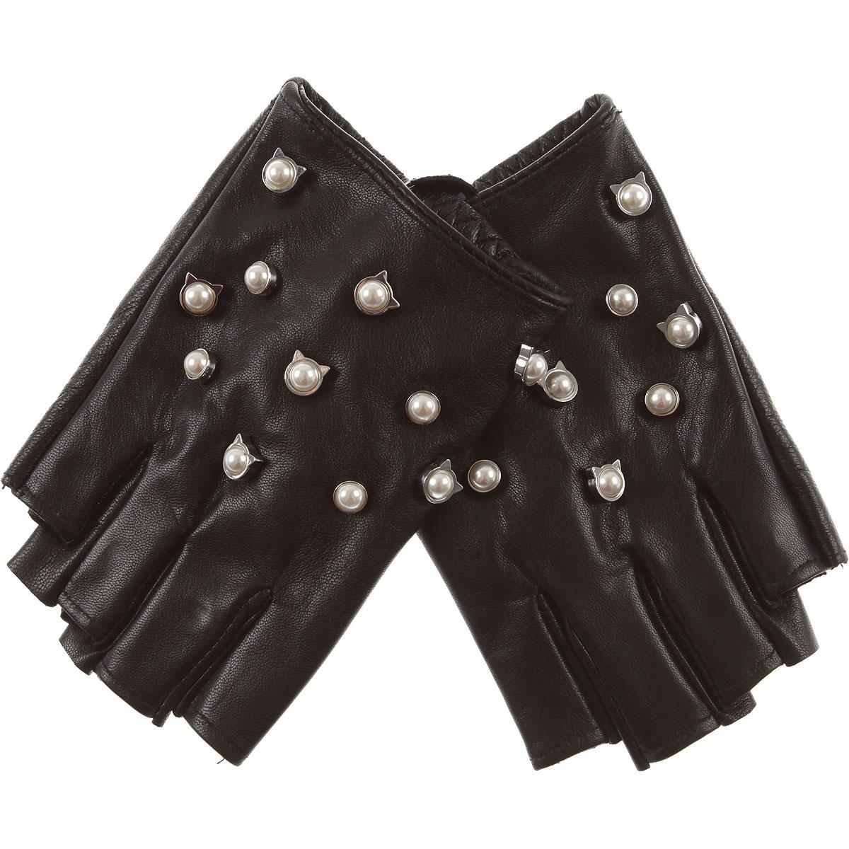 Image of Karl Lagerfeld Gloves for Women, Black, Leather, 2017